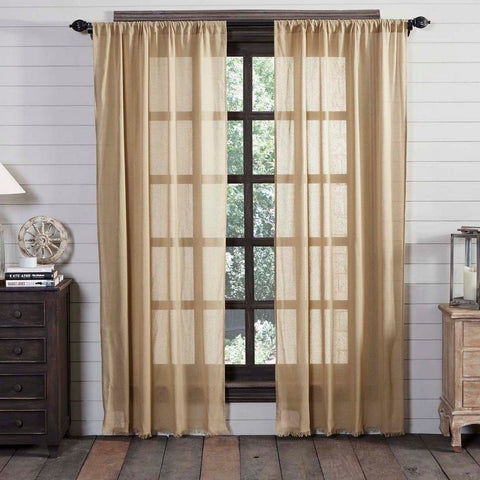 Khaki Fringed Tobacco Cloth Panel Curtains 84""