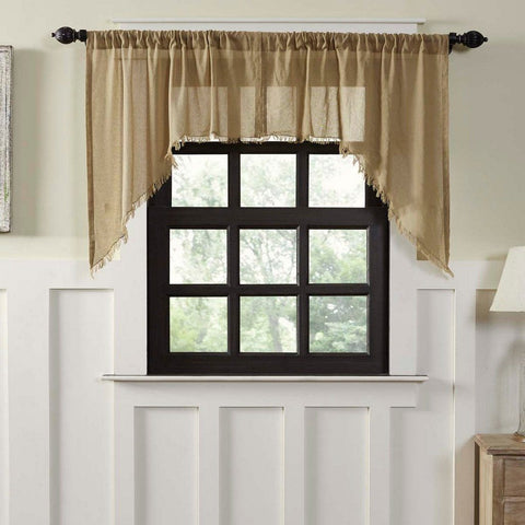 Khaki Fringed Tobacco Cloth Swag Curtains