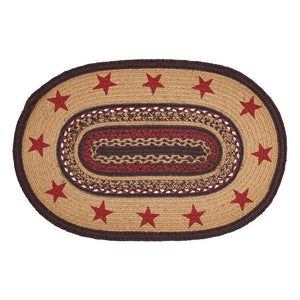 Landon Stencil Star Oval Braided Rug 20x30""