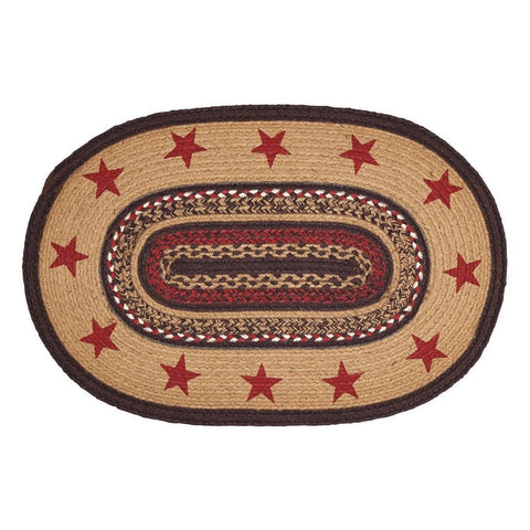 "Landon Stencil Star Oval Braided Rug 20x30"" - Primitive Star Quilt Shop"