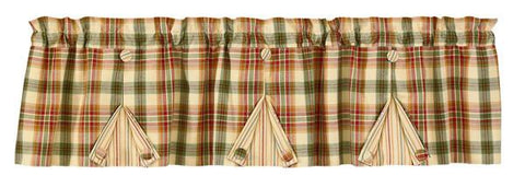 Lemon Pepper Pleated Button Lined Valance - Primitive Star Quilt Shop