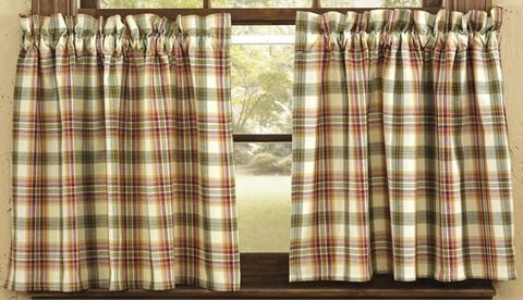 "Lemon Pepper Unlined Tier Curtains 36"" - Primitive Star Quilt Shop - 1"