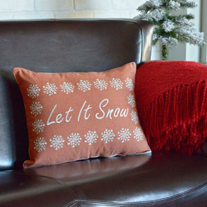 "Let It Snow Pillow 14x18"" Filled"