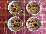 Mason Jar Logo Lid Coaster - Set of 4 - Primitive Star Quilt Shop
