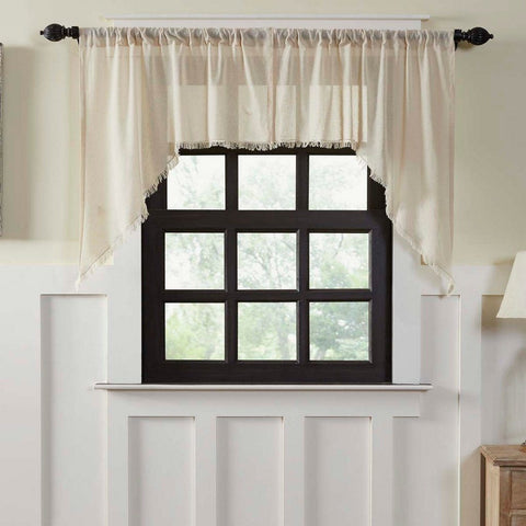 Natural Fringed Tobacco Cloth Swag Curtains