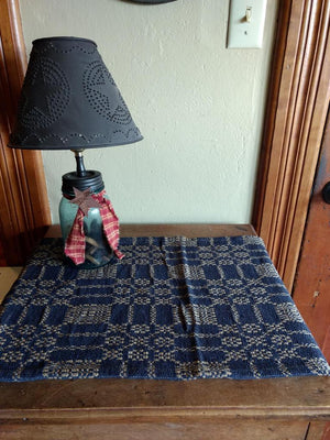 Primitive Navy and Tan Woven Coverlet Table Runner 31""