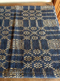 "Primitive Navy and Tan Woven Coverlet Table Runner 56"" - Primitive Star Quilt Shop"