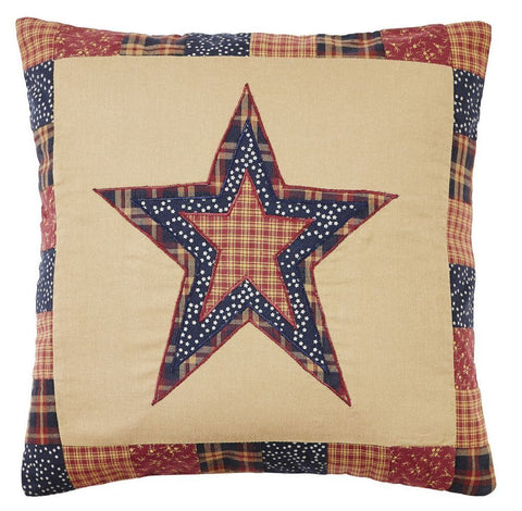 "Old Glory Star Fabric Pillow 16"" Filled - Primitive Star Quilt Shop"