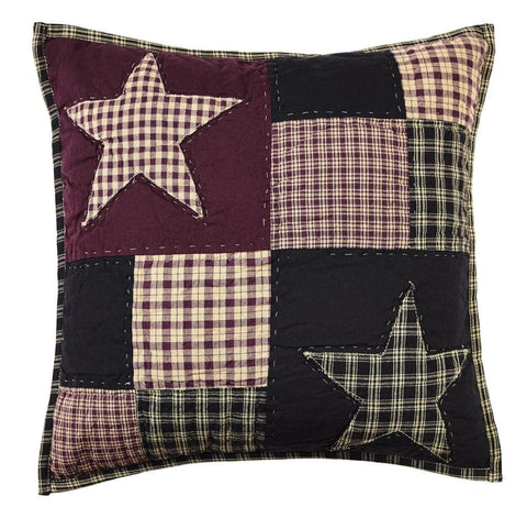 "Plum Creek Star Quilted Pillow 16"" Filled - Primitive Star Quilt Shop"