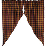 "Heritage Farms Primitive Check Lined Prairie Curtains 63"" - Primitive Star Quilt Shop"