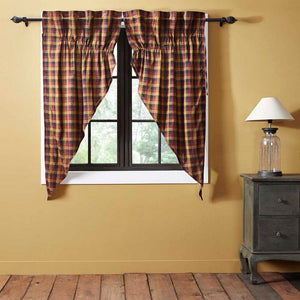 Heritage Farms Primitive Check Lined Prairie Curtains 63""