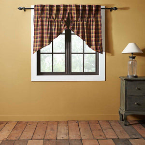 Heritage Farms Primitive Check Lined Prairie Swag Curtains