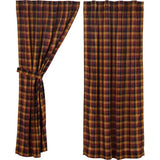 "Heritage Farms Primitive Check Lined Short Panel Curtains 63"" - Primitive Star Quilt Shop"