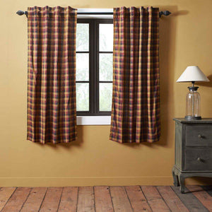 Heritage Farms Primitive Check Lined Short Panel Curtains 63""