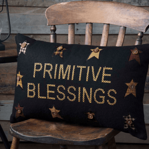 "Heritage Farms Primitive Blessings Pillow 14x22"" Filled"