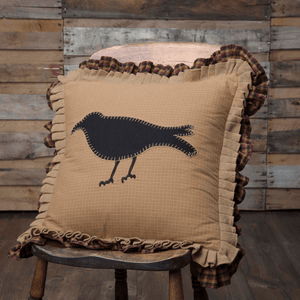 "Primitive Crow Pillow 18"" Filled"