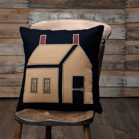 "Primitive House Pillow 18"" Filled"