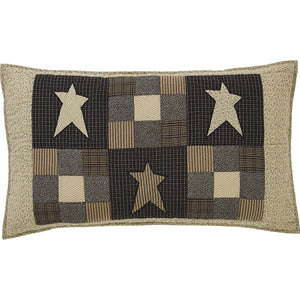 Primitive Star Quilted King Sham 21x37""