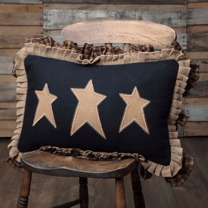"Heritage Farms Primitive Stars Pillow 14x22"" Filled"