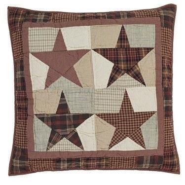 "Abilene Star Quilted Euro Sham 26x26"" - Primitive Star Quilt Shop - 1"