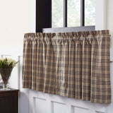 "Sawyer Mill Charcoal Plaid Lined Tier Curtains 24"" - Primitive Star Quilt Shop"