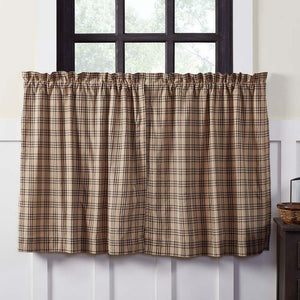 Sawyer Mill Charcoal Plaid Lined Tier Curtains 36""