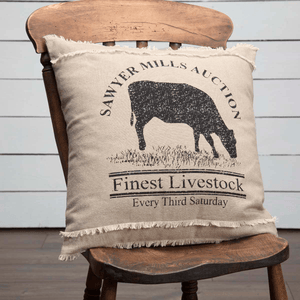 "Sawyer Mill Charcoal Cow Pillow 18"" Filled"