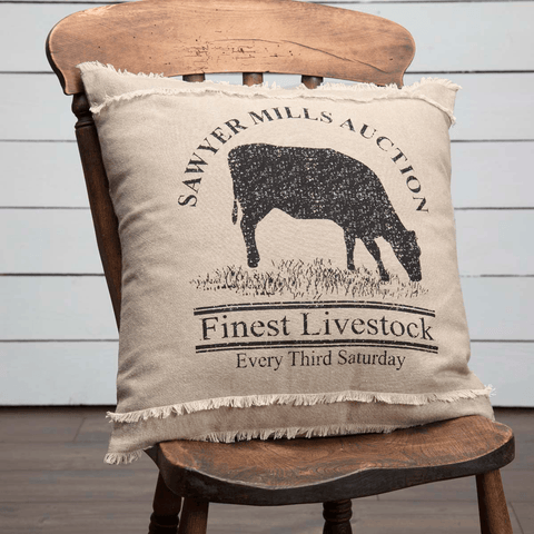 "Sawyer Mill Cow Pillow 18"" Filled"