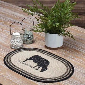 "Sawyer Mill Charcoal Cow Braided Placemat 12x18"" - Set of 6"