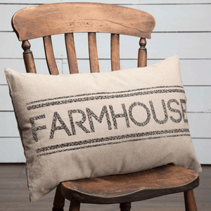 "Sawyer Mill Charcoal Farmhouse Pillow 14x22"" Filled"