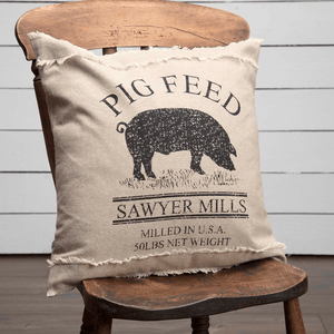 "Sawyer Mill Charcoal Pig Pillow 18"" Filled"