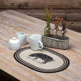 "Sawyer Mill Charcoal Pig Braided Placemat 12x18"" - Set of 6 - Primitive Star Quilt Shop"