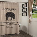 Sawyer Mill Charcoal Pig Shower Curtain - Primitive Star Quilt Shop
