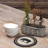 "Sawyer Mill Charcoal Pig Braided Trivet 8"" - Primitive Star Quilt Shop"