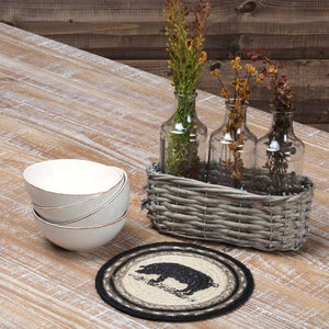 Sawyer Mill Charcoal Pig Braided Trivet 8""