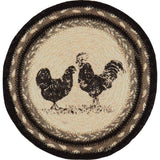 "Sawyer Mill Charcoal Poultry Braided Trivet 8"" - Primitive Star Quilt Shop"