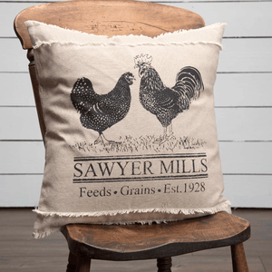 "Sawyer Mill Charcoal Poultry Pillow 18"" Filled"