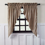"Sawyer Mill Charcoal Plaid Lined Prairie Curtains 63"" - Primitive Star Quilt Shop"