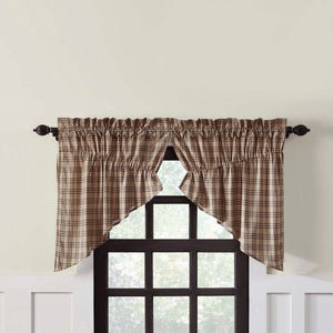 Sawyer Mill Charcoal Plaid Lined Prairie Swag Curtains