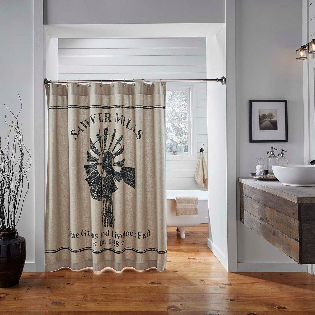 Sawyer Mill Shower Curtain Primitive Star Quilt Shop