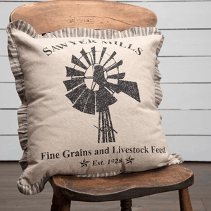 "Sawyer Mill Charcoal Windmill Pillow 18"" Filled"