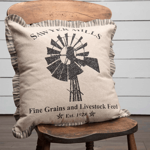 "Sawyer Mill Windmill Pillow 18"" Filled"