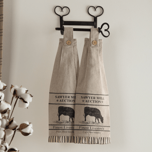 Sawyer Mill Charcoal Cow Button Loop Tea Towel - Set of 2