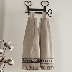 Sawyer Mill Charcoal Farmhouse Button Loop Tea Towel - Set of 2