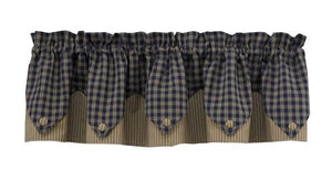 Sturbridge Navy Pointed Lined Valance 72""