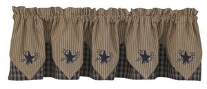 Sturbridge Navy Star Embroidered Pointed Lined Valance 72""