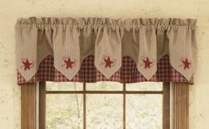 Sturbridge Wine Star Embroidered Pointed Lined Valance 72""