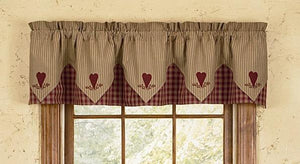 Sturbridge Wine Heart Embroidered Pointed Lined Valance 72""