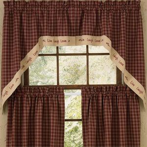 Sturbridge Wine Live Lined Swag Curtains