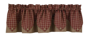 Sturbridge Wine Pointed Lined Valance 72""